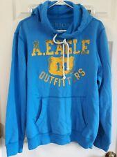 American Eagle Men's Blue Hoodie Sweatshirt Pullover Big Logo Size L Large