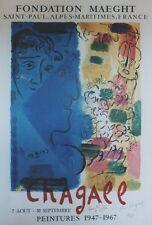 """""""CHAGALL (LE PROFIL BLEU)"""" Affiche dédicacée et entoilée Litho MOURLOT 1967"""