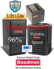3 Ton Goodman 16 seer 95/96% 80K Gas Furnace GSX160361+GMVC960804CN+Cased Coil