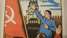 1968 RUSSIA VINTAGE AVANT-GARDE ART POSTER SOCIALIST Soviet Union LENIN FLAG RU