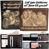 Echt Leder Geldbörse mit Ihrem Foto Logo Text graviert Hochformat Querformat