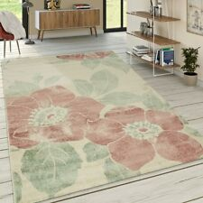 Tapis De Créateur Salon Poils Ras Moderne Motif Floral Couleurs Pastel Rose