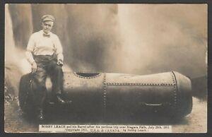 Postcard Niagara Falls stuntman Bobby Leach in Barrel 1911 USA Canada #1