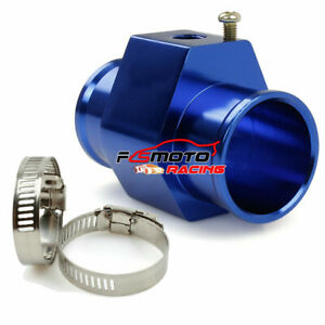 "BLUE 34MM 1.34"" Water Temp Gauge Radiator Sensor Adaptor Attachment Aluminum"