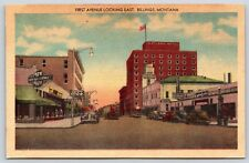 First Avenue Looking East in Billings, Montana Highway 10 Linen Postcard