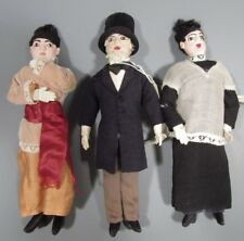 Lot of 3 South American Cloth Dolls Acolyte, Aristocrat & Other ca. 19-20th c.