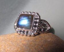 Sterling silver cabochon LABRADORITE ring UK I½-¾/US 4.75. Gift bag.