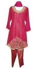 Heavy Magenta Peplum Dress Kurta Shalwar Kameez Trouser Suit Bollywood Jamawar