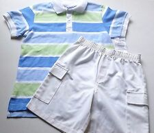 Boys Kelly'S Kids blue striped polo shirt white shorts outfit 7-8 Nwt beach pool