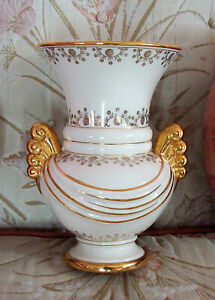 Vintage Abingdon USA Drapped Pottery Vase Art Deco Gilded Trim & Handles #557