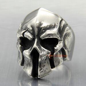 Men Punk Stainless Steel Spartan Warrior Skull Biker Ring Gladiator Helmet Mask