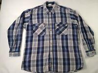 FIELD & STREAM Shirt Jacket Vintage Blue  Gray PLAID HEAVY Cotton FLANNEL Men XL