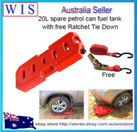 20L Jerry Can Fuel Container Spare 4X4 4WD Container w Free Ratchet Tie Down
