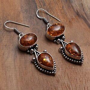 "Amber Handmade Drop Dangle Earrings Jewelry 2.08"" AE 97613"