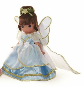 """Precious Moments Doll Blue Angel 9"""" Doll Brunette Angel From Above"""