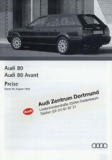 Preisliste Audi 80 Limousine Avant 30.8.93 1993 Autopreisliste 2.8E 2.6E 2.3E ua