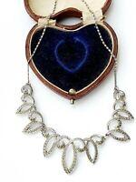Vintage 17.5 Silver Tone Marcasite Necklace