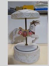 Por celian Carousel Horse Music Box Plats Waltz With The American Flag on Sides