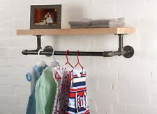 Clothes Rail & Shelf, Industrial Pipe, Vintage Chic Retro Hanging Oak Wood Rack