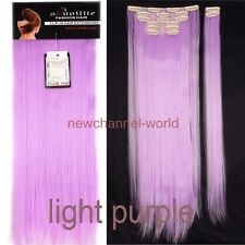 100% Real Natural 8Pieces Clip In Ins as Human Hair Extensions Full Head Wavy US