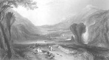 Mythology, APOLLO & DAPHNE Greek Temples, Old 1862 Landscape Art Print Engraving