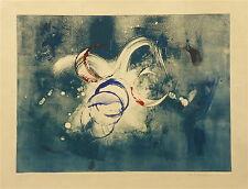 Mary Beach gravure monotype signée 1990 art  abstrait Etats-Unis  Pélieu P 765