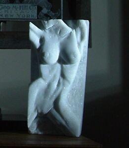 "Original Marble Sculpture ""Dreams in the Garden"" Tabletop Marble Nude Sculpture"