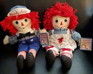 """Aurora/Hasbro Handmade Set of 2 Raggedy Ann & Raggedy Andy Plush Dolls 16"""" W/Tag"""