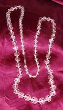 """30"""" Victorian Cut Rock Crystal 14K Gold Filled Individually Knotted Necklace"""