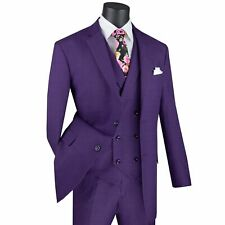 VINCI Men's Purple Glen Plaid 3 Piece 2 Button Classic Fit Suit NEW