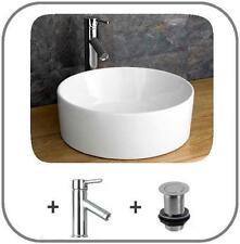 Moda 41cm Round Ceramic Basin Circular Sink Countertop With Tap and Pop up Waste