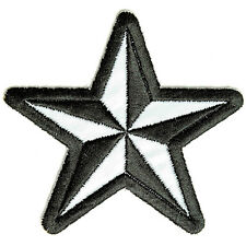Embroidered Reflective Nautical Star Be Seen at Night Iron on Sew on Biker Patch