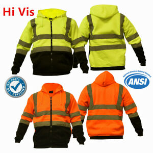 Hi Vis ANSI Class 3 Safety Pullover Zipper Sweatshirt Fleece Hoodie Black Bottom