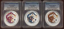 +Awesome+ Three .999 Silver Aussie 2012 Colorized Dragon $1 (All Pcgs Ms70) NoRs