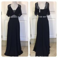 NEW EX ASOS Lace Insert Flutter Sleeve Maxi Dress - Navy Sizes UK 8-16
