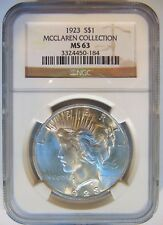 1923 Silver Peace Dollar NGC MS 63 McClaren Collection Pedigree Hoard Coin