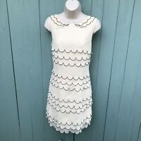 Ted Baker Dress Priscil Size3 UK12 Medium Cream Summer Scalloped Silk Flapper