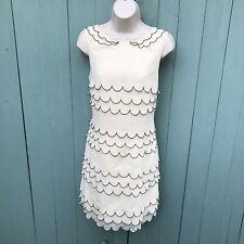 Ted Baker Dress Priscil Size 3 12 Medium Cream Summer Scalloped Mid Length Silk