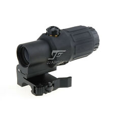 JJ Airsoft 3X Magnifier with Switch to Side STS Quick Detachable/QD Mount(Black)