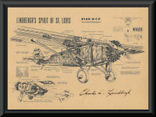 Charles Lindbergh Autograph Reprint Diagram of Ryan-M2 On 90 Year Old Paper P049