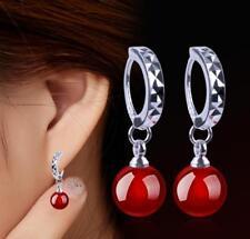 Gemstone Beads Drop silver Hook Earring Pretty Fashion 8mm Aaa Red Jade