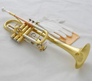Prof Top Gold C Key Trumpet Horn cupronickel tuning pipe With Case Mouthpiece