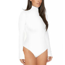Ladies Plain High Roll Turtle Polo Neck Bodysuit Women Long Sleeve Leotard Top A
