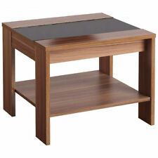 Walnut Veneer & Black High Gloss End Lamp Small Side Coffee Table