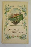 Vintage Antique Postcard 1922 Birthday Greetings Cottage Hill Chickens -B3