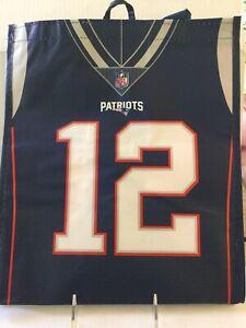 New England Patriots #12 Tom Brady GOAT Reusable Tote Grocery Bag NWT
