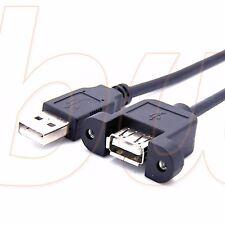 Prolongador Alargador USB MACHO a USB HEMBRA PARA ATORNILLAR EN PANEL USB 2.0