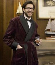 Men Burgundy Smoking Jackets Gowns Luxury Designer Dinner Party Wear Long Coats