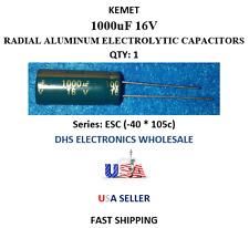 KEMET 1000uF 16V QTY:1 Aluminum Electrolytic Radial Capacitors -40 to +105c