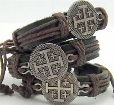 MRT Lot Of 3 Jerusalem Cross Christian Religious Leather Rope Faith Fashion Gift